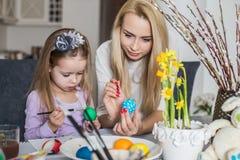 Dziewczyna z jej macierzystym uczenie malować Wielkanocnych jajka Fotografia Stock