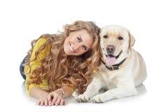 Dziewczyna z jej psem obrazy stock