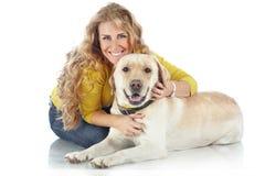 Dziewczyna z jej psem Zdjęcie Stock