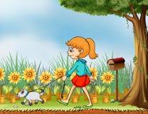 Dziewczyna z jej zwierzęciem domowym w ogródzie ilustracja wektor