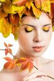 Dziewczyna z jesień liśćmi Obrazy Royalty Free