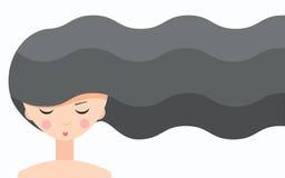 Dziewczyna z kędzierzawym włosy ilustracja wektor