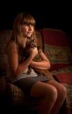 Dziewczyna z kotem, kot. Depresja klucz. obrazy royalty free