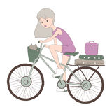 Dziewczyna z kotem na rowerze Zdjęcie Stock