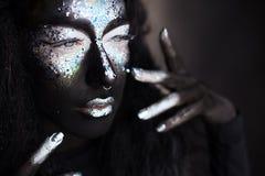 Dziewczyna z kreatywnie twarzy sztuki makeup Obraz Royalty Free