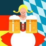 Dziewczyna z kubkami piwo na tle w Niemieckich i Bawarskich chorągwianych kolorach zdjęcie royalty free