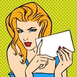 Dziewczyna z listową wystrzał sztuki rocznika gniewną komiczką Fotografia Royalty Free