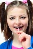 Dziewczyna z lizakiem Obraz Royalty Free
