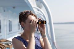 Dziewczyna z Lornetkami Fotografia Stock