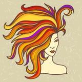Dziewczyna z luxuriant włosy Zdjęcie Stock