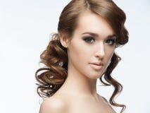 Dziewczyna z makeup i fryzurą Obrazy Stock