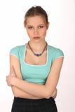 Dziewczyna z makeup i kolią z bliska Biały tło Zdjęcia Royalty Free