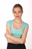 Dziewczyna z makeup i krzyżować rękami z bliska Biały tło Obrazy Stock