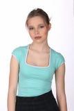 Dziewczyna z makeup pozować z bliska Biały tło Zdjęcia Stock