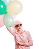 Dziewczyna z makeup w stylu wystrzałów balonów i sztuki Fotografia Stock