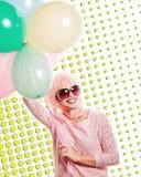 Dziewczyna z makeup w stylu wystrzałów balonów i sztuki Barwiony b Fotografia Royalty Free