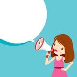 Dziewczyna Z megafonu zawiadomieniem I mowa bąblem royalty ilustracja