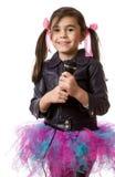 Dziewczyna z mikrofonem Zdjęcia Royalty Free