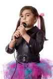 Dziewczyna z mikrofonem Obraz Royalty Free