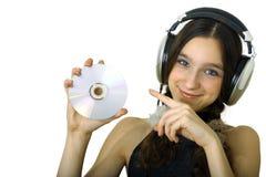 Dziewczyna z hełmofonami fotografia stock