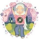 Dziewczyna z hełmofonami Zdjęcia Stock