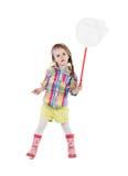 Dziewczyna z motylią siecią. Odizolowywający na bielu Obrazy Royalty Free