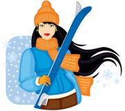 Dziewczyna z nartami royalty ilustracja