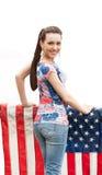 Dziewczyna z odosobnioną USA flaga, Fotografia Royalty Free