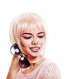 Dziewczyna z okularami przeciwsłonecznymi i makeup w stylowej wystrzał sztuce Obraz Stock