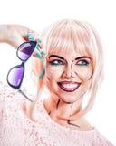Dziewczyna z okularami przeciwsłonecznymi i makeup w stylowej wystrzał sztuce Fotografia Stock