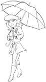 Dziewczyna z parasolem Obraz Stock