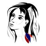 Dziewczyna z piękną kolczyk flagą Armenia royalty ilustracja