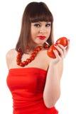 Dziewczyna z pomidorem Obrazy Royalty Free