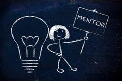 Dziewczyna z pomysłami i wiedzą: mentor royalty ilustracja