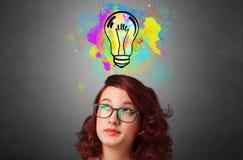 Dziewczyna z projekta myślącym pojęciem obraz stock