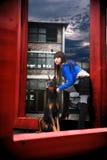 Dziewczyna z psem obraz stock
