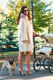 Dziewczyna z psem i spacerowiczem troszkę zdjęcia stock