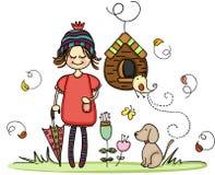 Dziewczyna z psem w jesień parku ilustracja wektor