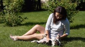 Dziewczyna z psem w parku na trawie swobodny ruch zbiory