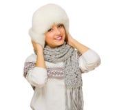 Dziewczyna z pulowerem odizolowywającym Fotografia Stock