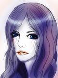 Dziewczyna z purpurowym włosy Zdjęcie Stock
