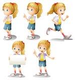 Dziewczyna z różnymi pozycjami royalty ilustracja