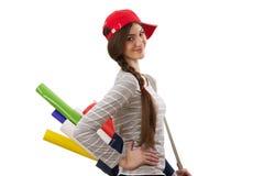 Dziewczyna z rolką papier Zdjęcie Royalty Free