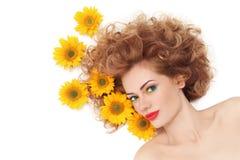 Dziewczyna z słonecznikami Zdjęcia Royalty Free