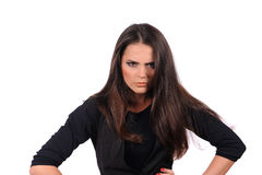 Dziewczyna z sceptycznymi twarzy wyrażeniami Zdjęcie Stock