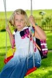 Dziewczyna z schoolbag Obrazy Royalty Free