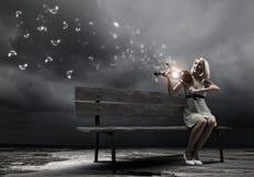 Dziewczyna z skrzypce Zdjęcie Stock