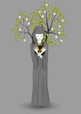 Dziewczyna z szarym peleryny mieniem wręcza napromienianie i save środowisko Zdjęcie Stock