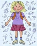 Dziewczyna z szkolnym plecakiem i szkolnymi ikonami tylna szkoły błękitny Zdjęcie Stock