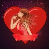 Dziewczyna z tasiemkowym i dużym sercem ilustracja wektor